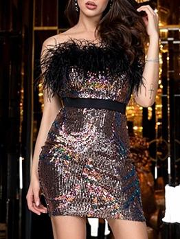 Faux Fur Patchwork Sequin Mini Sexy Cocktail Dresses