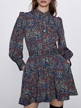 Vintage Print Button Down Long Sleeve Dress