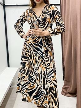 Animal Printed v Neck Long Sleeve Maxi Dress