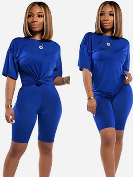 Casual Solid Short Sleeve Womens Tracksuits