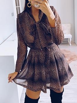 Euro Tie Neck Leopard Print Long Sleeve Dress