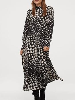 Fashion Tied Neck Houndstooth Long Sleeve Midi Dress