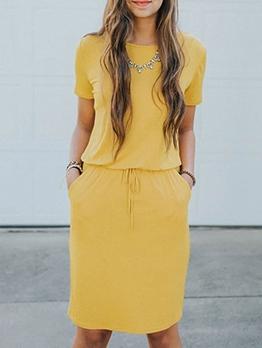 Elastic Waist Solid Short Sleeve Summer Dresses