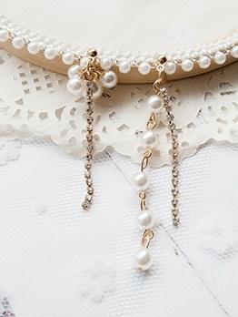 Chic Synthetic Pearl Rhinestone Long Earrings
