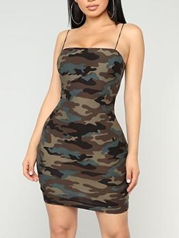 Sexy Camouflage Sleeveless Bodycon Mini Dress