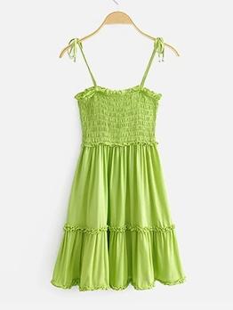 Hot Sale Elastic Large Hem Sleeveless Summer Dresses