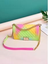 Large Size Contrast Color Hasp Chain Shoulder Bags For Women