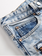 Euro Applique Solid Men Ripped Jeans