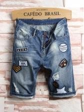 Fashion Badge Applique Holes Denim Half Pants