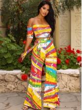 Colorful Print Off Shoulder Two Piece Pants Set