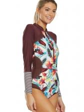 Printed Skinny Long Sleeve Swimwear Women