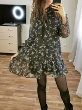 Tie Neck Black Long Sleeve Floral Dress For Summer