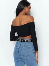 Off Shoulder Drawstring Long Sleeve Cropped T-shirt