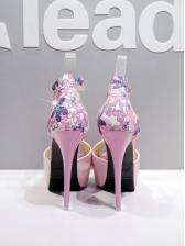 Peep Toe Ankle Strap Floral Platform Heels