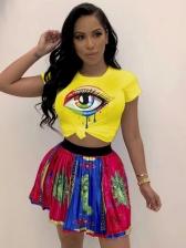 Colorful Eye Print Short Sleeve T-shirts