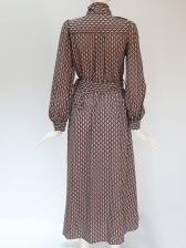 Tie Neck Print Long Sleeve Maxi Shirt Dress