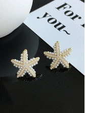 Simple Design Synthetic Pearl Star Earrings