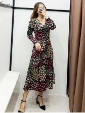 V Neck Flower Pattern Casual Maxi Dresses