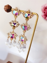 Sweat Heart Rhinestone Decor Drop Earrings