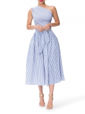 Inclined Shoulder Tie-Wrap Blue Striped Midi Dress