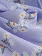 Puff Sleeve Purple Floral Short Dress