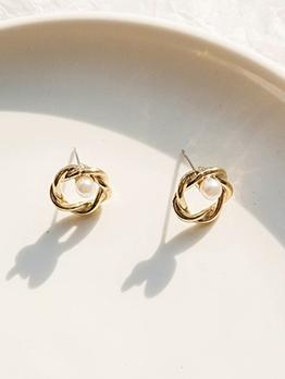 Simple Design Faux Pearl Decor Cute Earrings