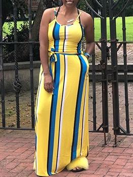 Elegant Slip Tie-Wrap Summer Maxi Dresses