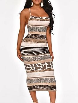 Backless Crisscross Animal Print Slip Ladies Dress