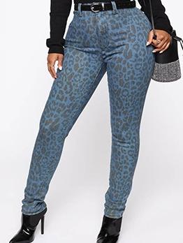 Leopard Print High Waist Skinny Pants For Women