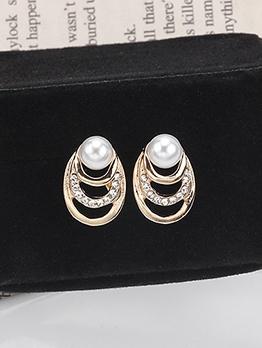 Rhinestone Decor Faux Pearl Earrings For Women