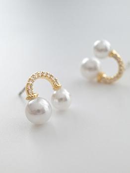Rhinestone Decor Faux Pearl Cute Earrings