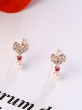 Rhinestone Decor Heart Faux Pearl Pendant Cute Earrings