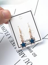Chic Blue Star Drop Earrings