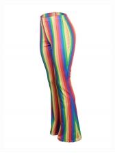 Rainbow Stripes Skinny Flare Pants For Women