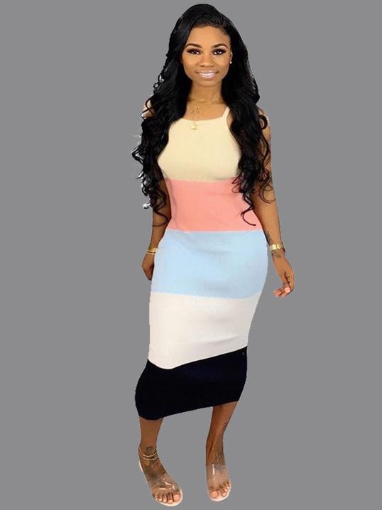 Contrast Color Sleeveless Maxi Dress Casual