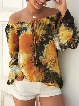Spring Mixed Color Tie Dye Off Shoulder Blouse