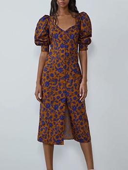 Stylish Half Sleeve Flower Pattern Ladies Dress