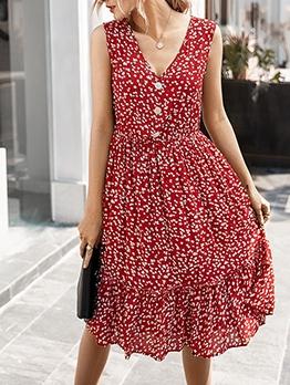 V Neck Floral Sleeveless Floral Dress