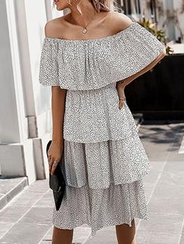 Solid Off The Shoulder Polka Dot Tiered Dress