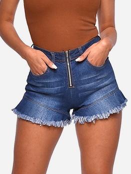 Zipper Fly Tassel Edge Women Denim Shorts