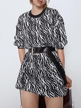 Crew Neck Animal Print Long Sleeve Dress