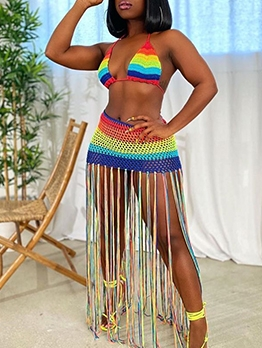 Rainbow Color Crochet Tassel Hem Two Piece Outfits