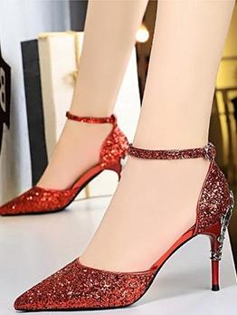 9.5CM Glitter Sequined Pointed Wedding Heels
