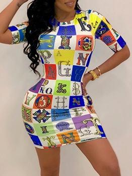 Letter Print Contrast Color T-Shirt Dress
