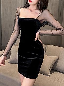 Square Neck Gauze Patch Black Sexy Dress
