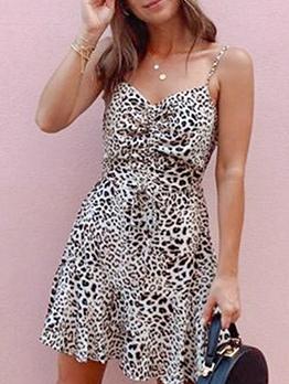 V Neck Leopard Shoulder Strap Summer Dresses