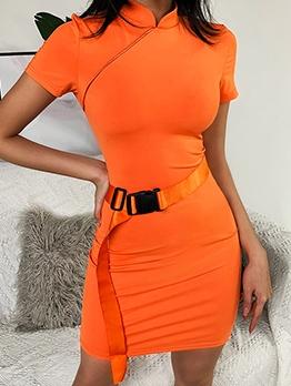 Mandarin Collar Short Sleeve Orange Bodycon Dress