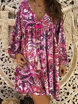 National Print Casual Long Sleeve Dress