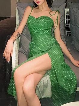 Print Tie Strap Sleeveless Midi Dress For Vacation