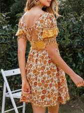 Square Neck Slim Fit Floral Ladies Dress
